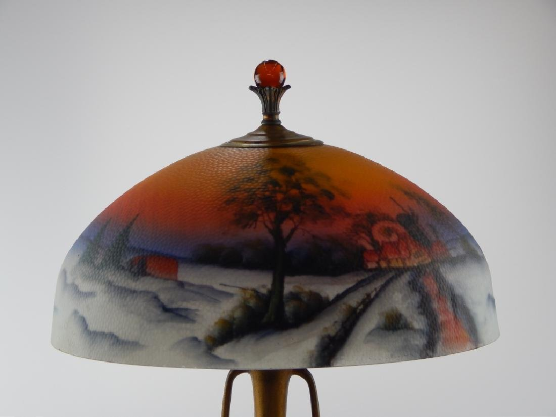 ART NOUVEAU LAMP w REVERSE PAINTED SCENIC SHADE - 6