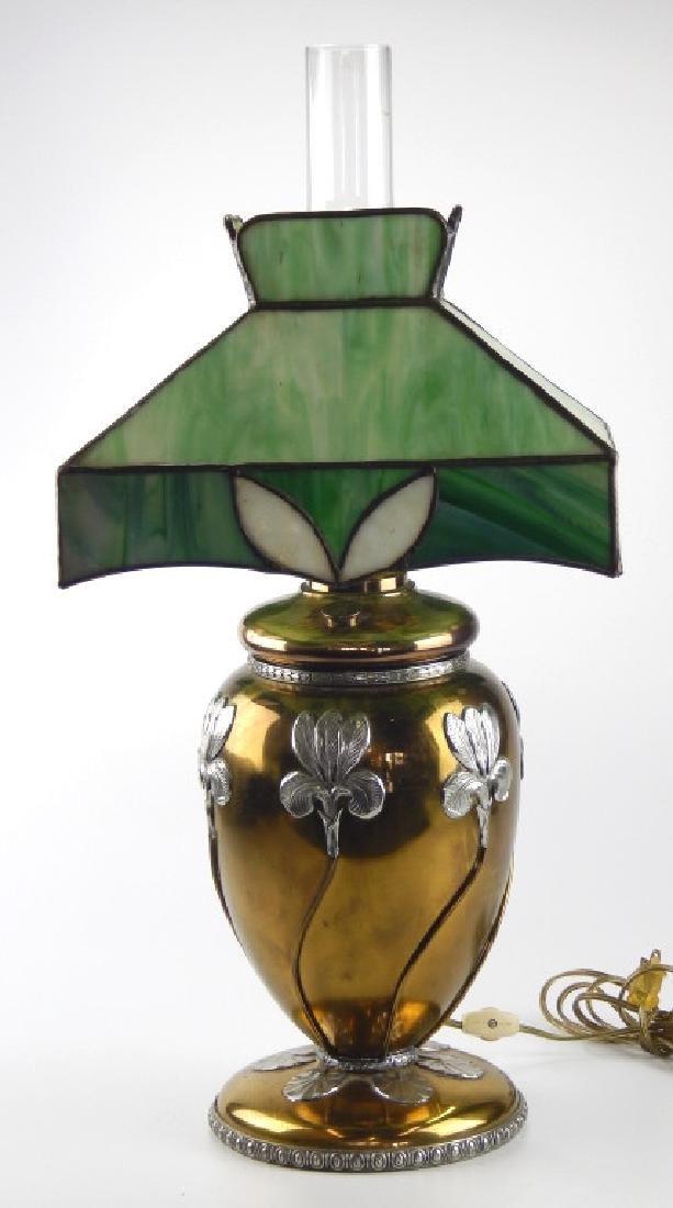 MILLER FLORAL LAMP w GREEN SLAG GLASS SHADE