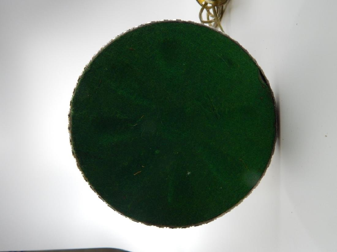 MILLER FLORAL LAMP w GREEN SLAG GLASS SHADE - 9