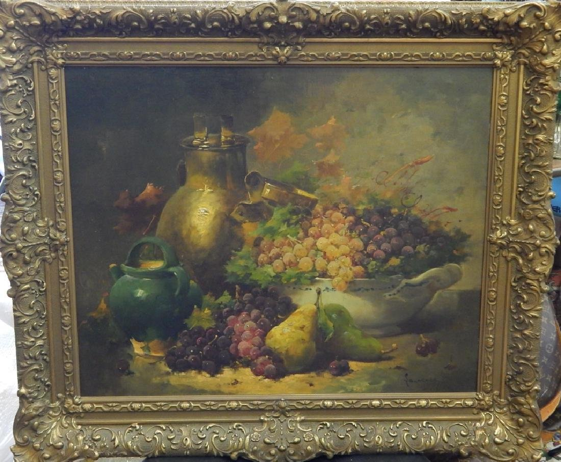 STILL LIFE OIL PAINTING ON BOARD SIGNED LAWRENCE