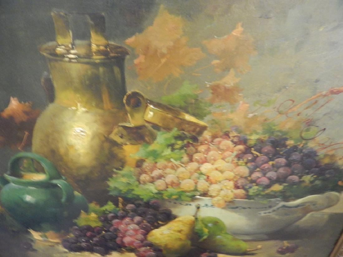 STILL LIFE OIL PAINTING ON BOARD SIGNED LAWRENCE - 4