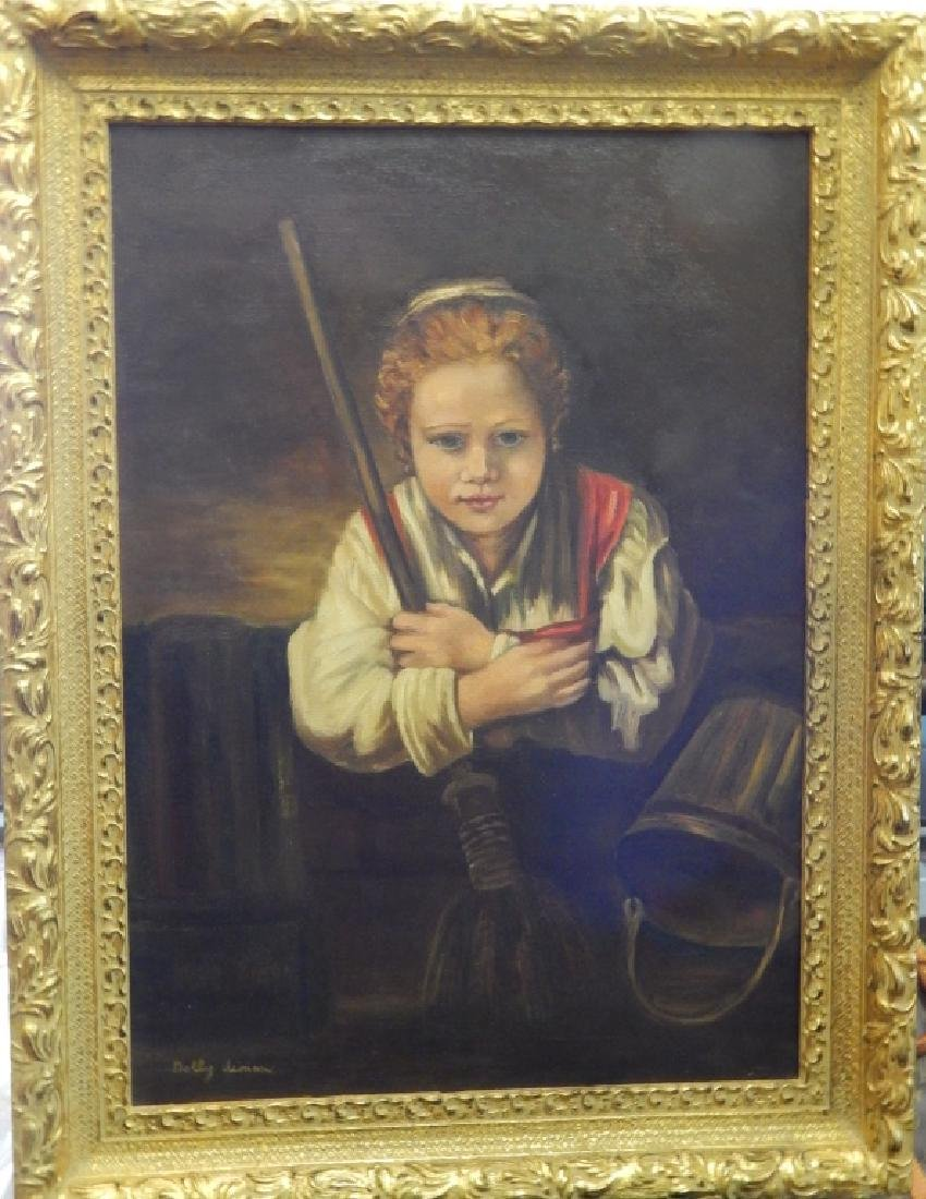 AFTER REMBRANDT BOY WITH BROOM OIL ON CANVAS