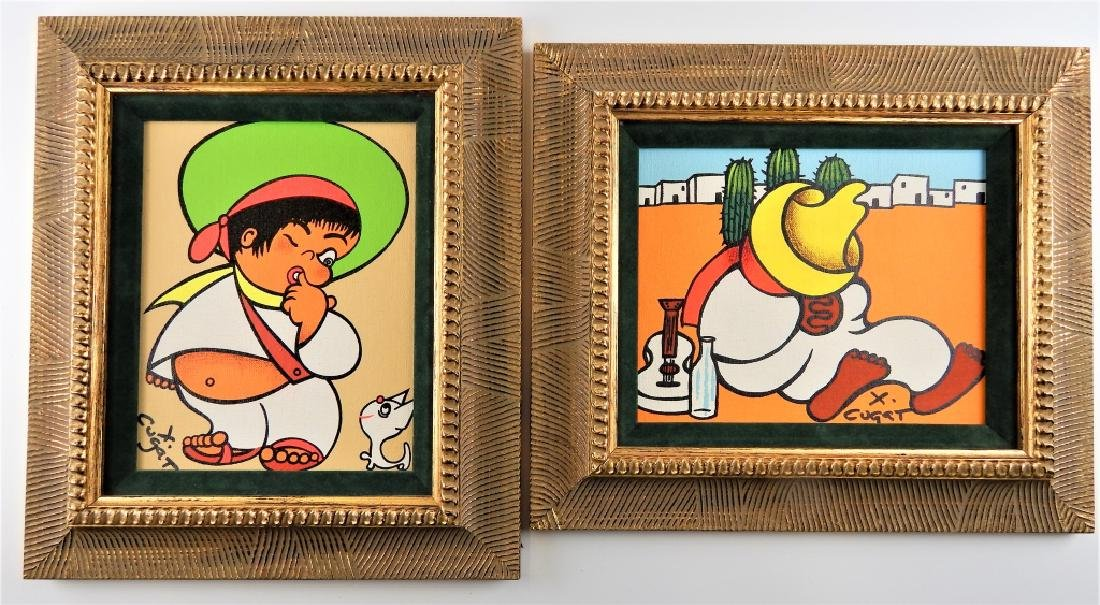 2 XAVIER CUGAT ACRYLIC WORKS ON MASONITE BOARD