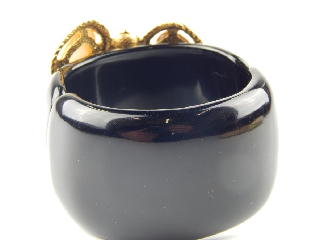 LANVIN PARIS BLACK LUCITE FAUX PEARL HINGED BANGLE - 3