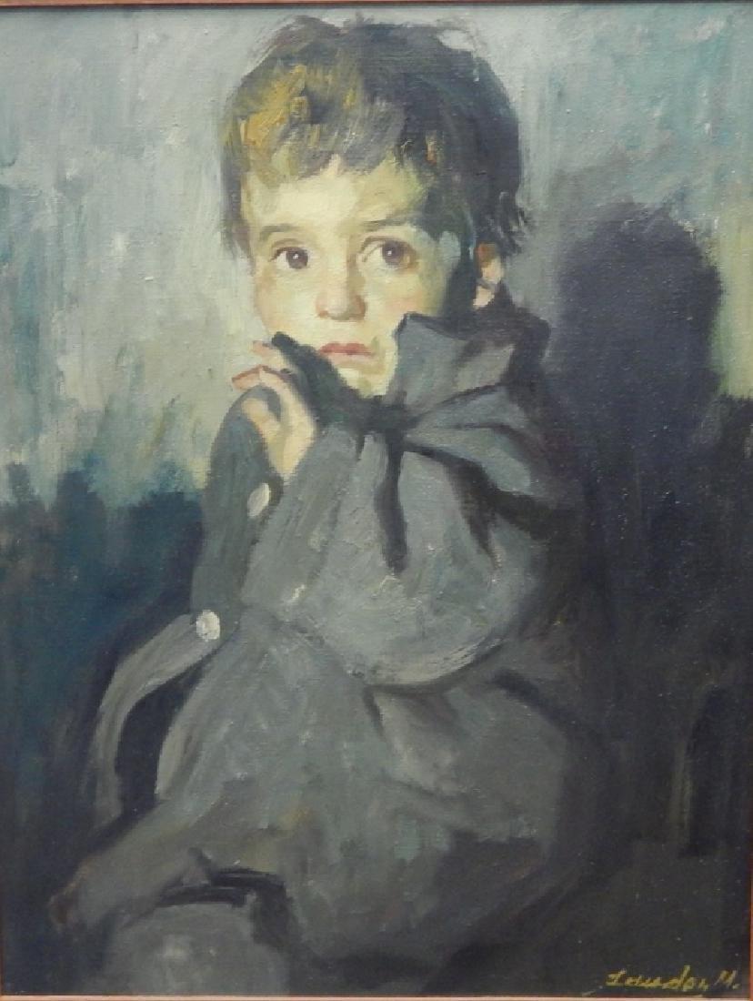 M LEWADON PORTRAIT OIL PAINTING OF BOY IN COAT