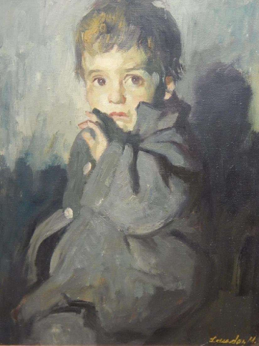 M LEWADON PORTRAIT OIL PAINTING OF BOY IN COAT - 2