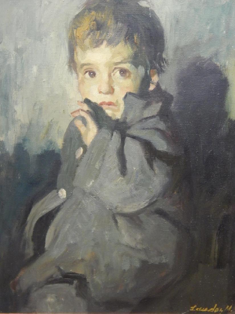 M LEWADON PORTRAIT OIL PAINTING OF BOY IN COAT - 2
