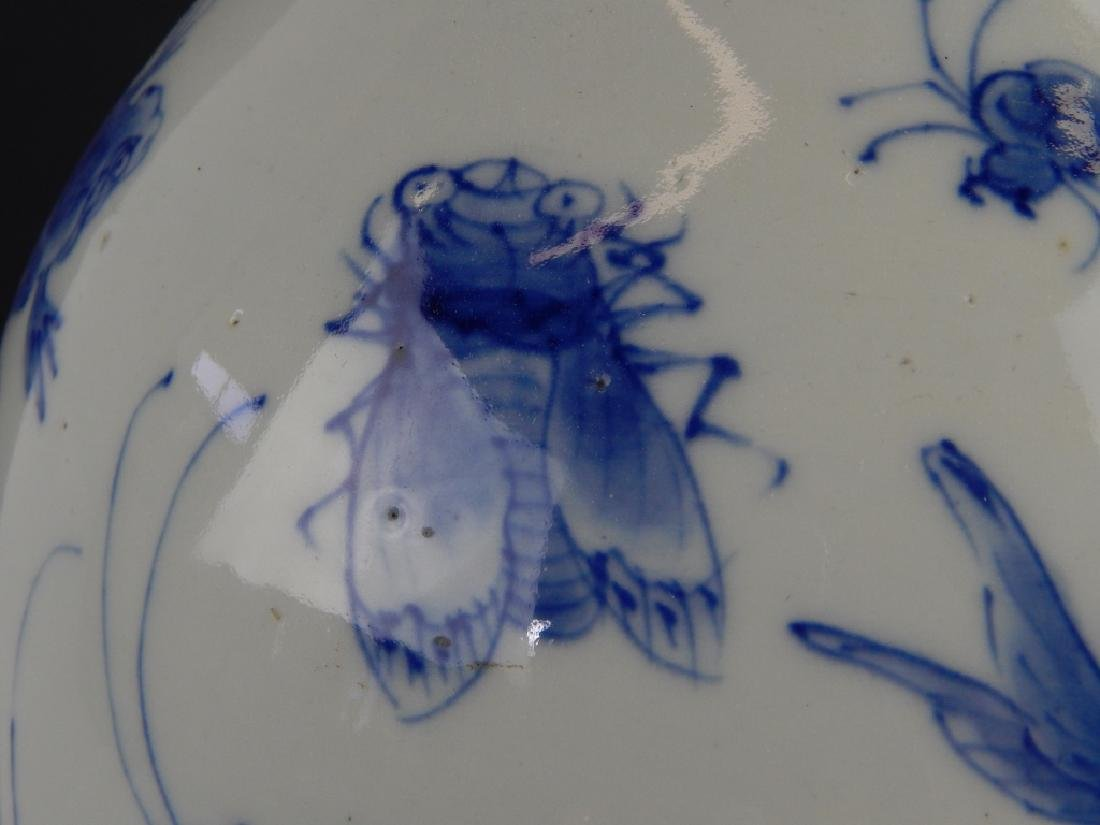 CHINESE BLUE AND WHITE PORCELAIN INSECTS RUFFLED V - 3