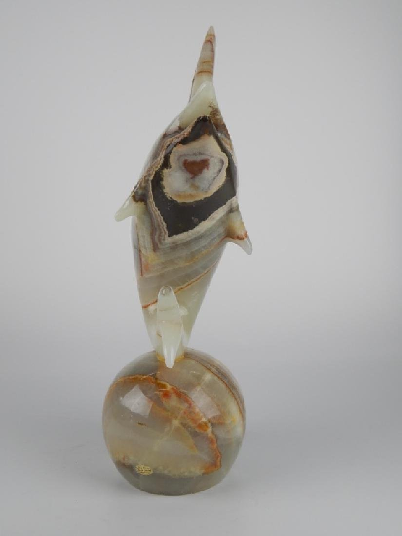 LARGE ONYX CARVED DOLPHIN SCULPTURE - 3