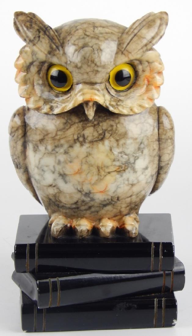 VINTAGE ITALIAN ALABASTER WISE OWL SCULPTURE