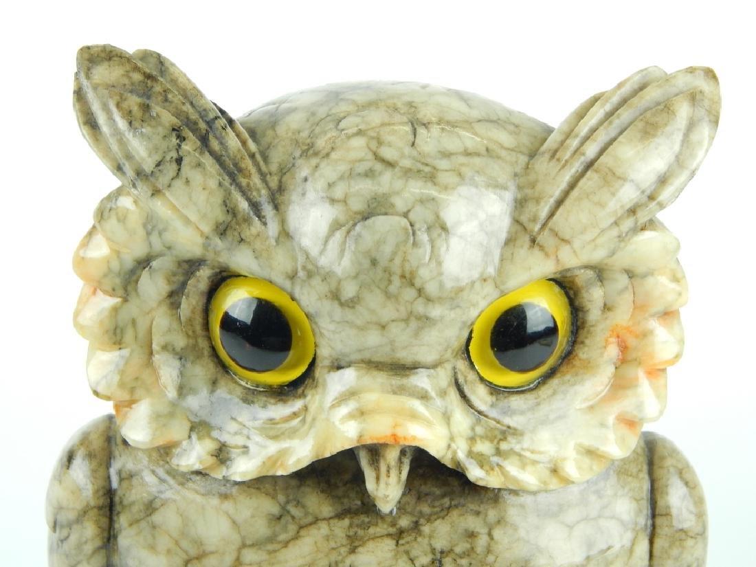 VINTAGE ITALIAN ALABASTER WISE OWL SCULPTURE - 4