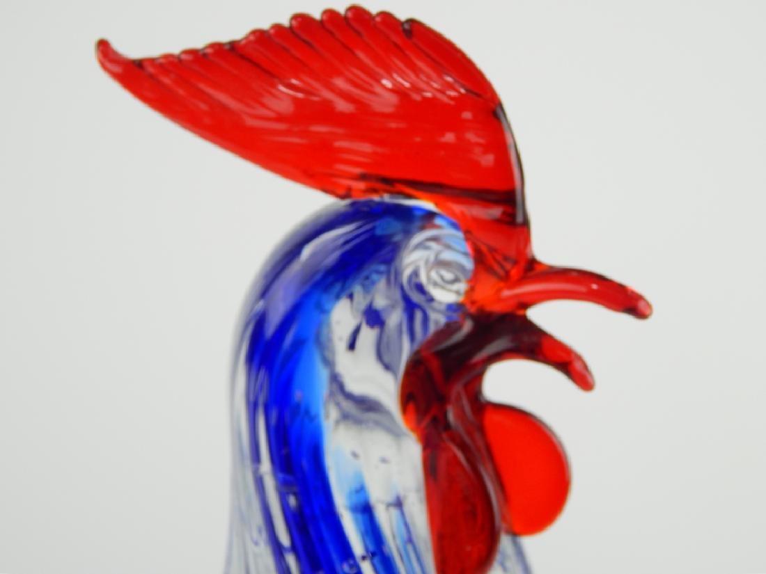 MURANO ART GLASS MULTICOLOR ROOSTER FIGURE - 2
