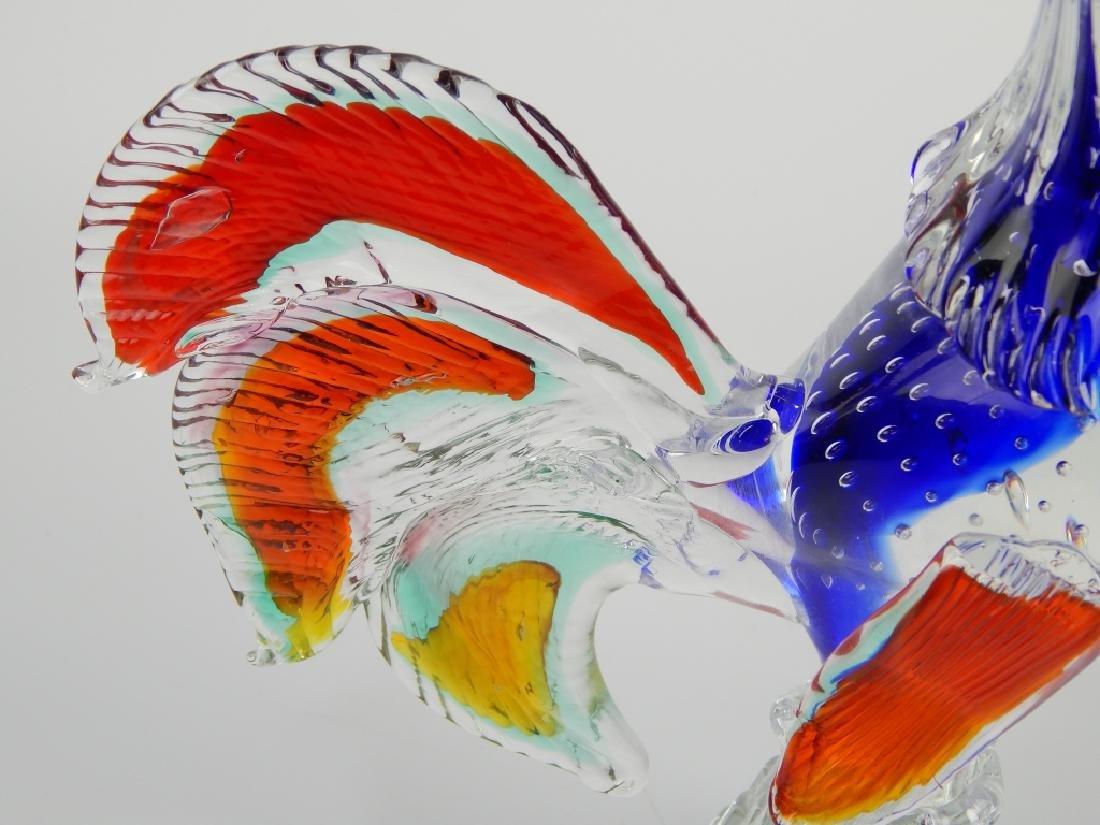 MURANO ART GLASS MULTICOLOR ROOSTER FIGURE - 3
