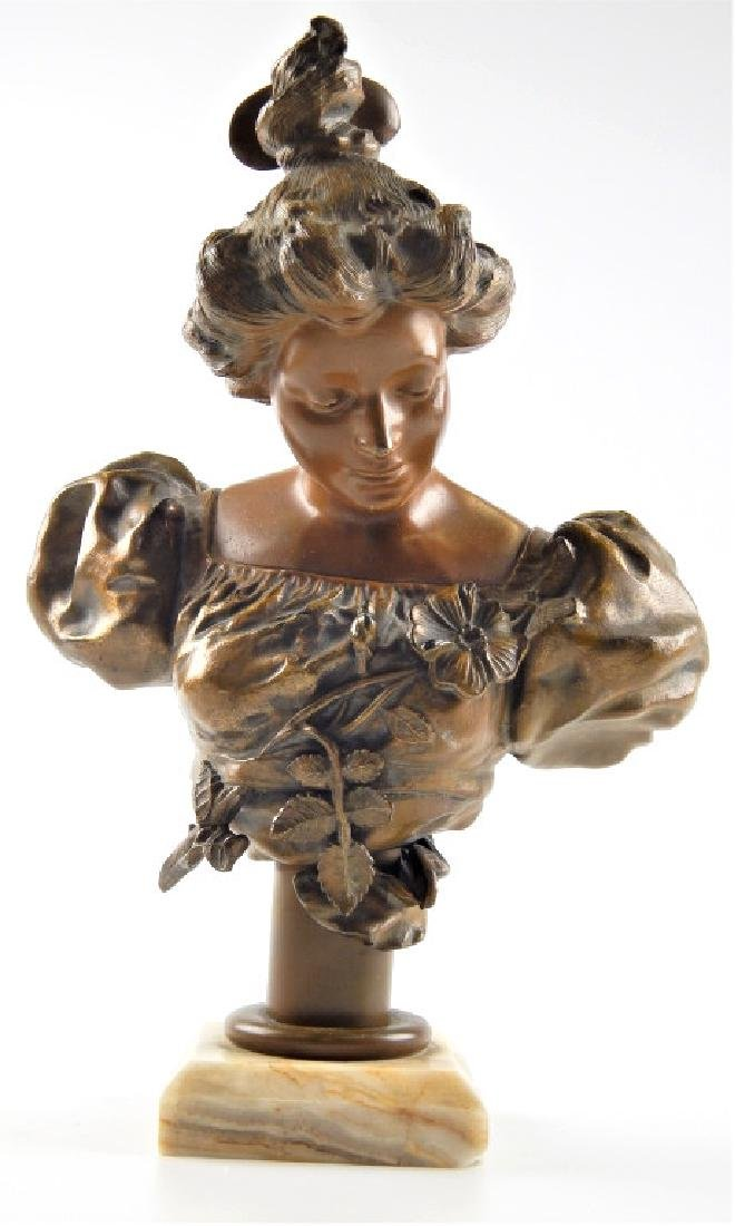 BRONZE BUST SCULPTURE OF WOMAN ON WHITE ONYX BASE
