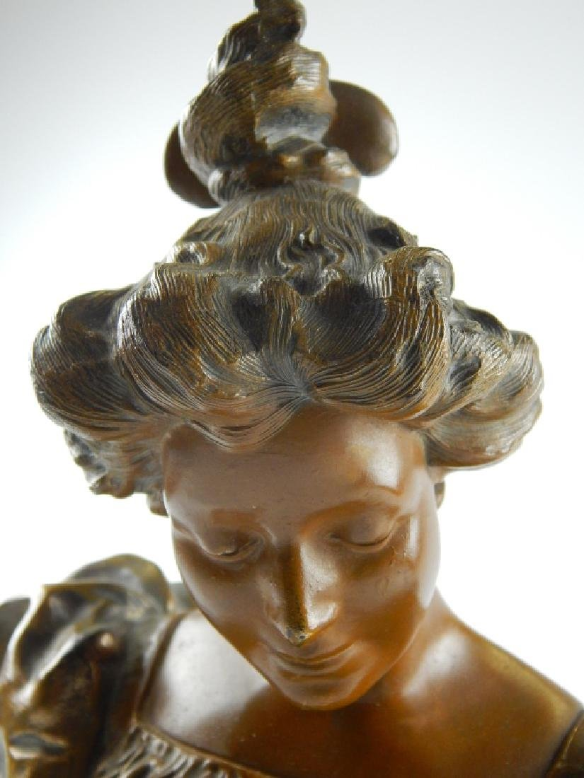 BRONZE BUST SCULPTURE OF WOMAN ON WHITE ONYX BASE - 2