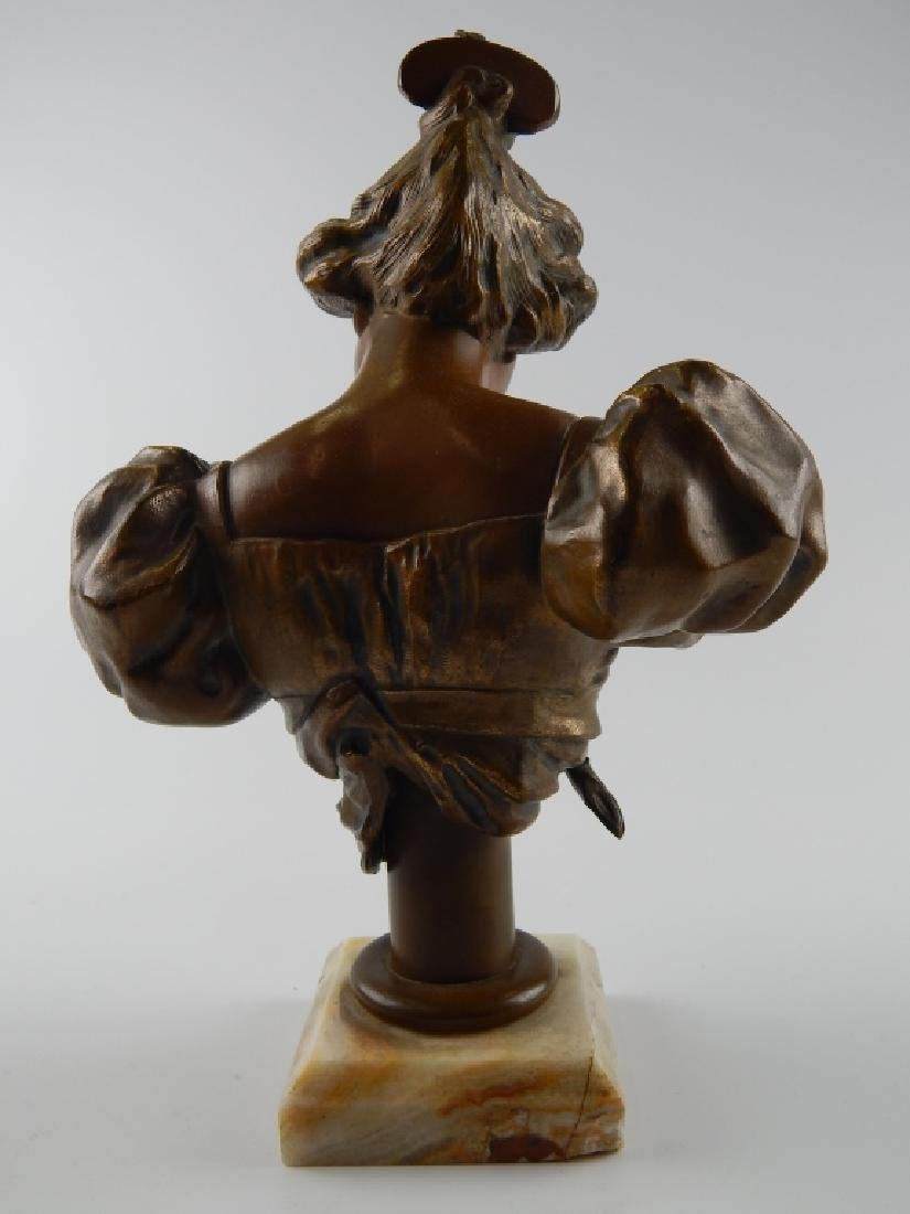 BRONZE BUST SCULPTURE OF WOMAN ON WHITE ONYX BASE - 4