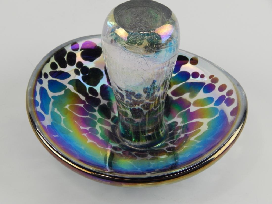 IRIDESCENT ART GLASS FIGURAL MUSHROOM SCULPTURE - 3