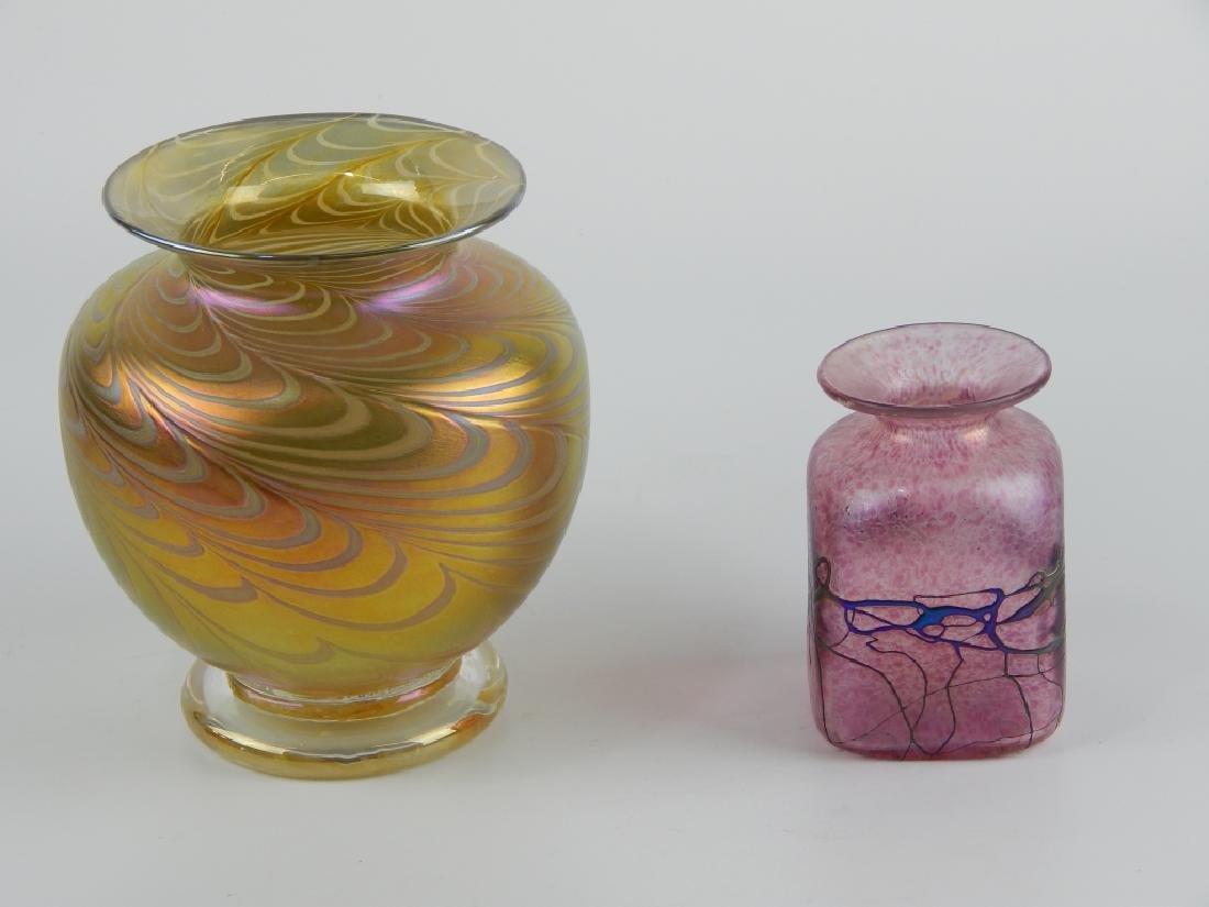 2pc ROBERT HELD IRIDESCENT ART GLASS VASES - 2