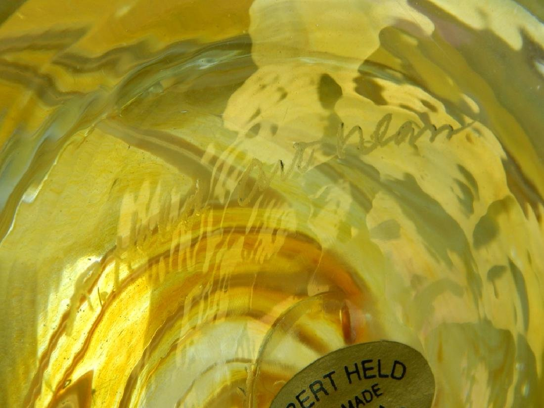 2pc ROBERT HELD IRIDESCENT ART GLASS VASES - 5