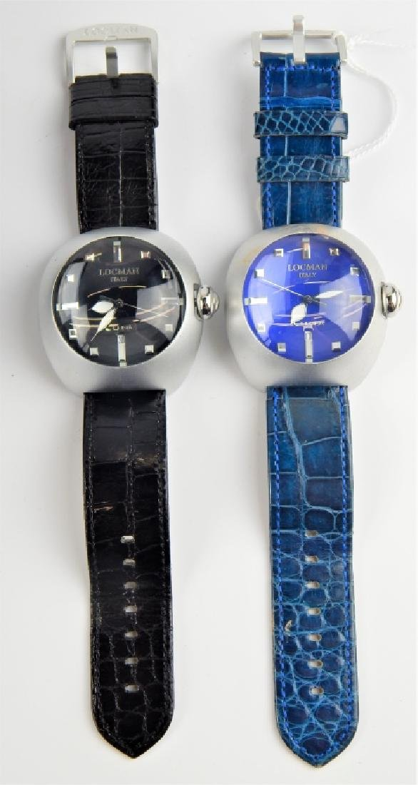 2 LOCMAN ITALY LUNA DOME DIAL DATE WRISTWATCHES