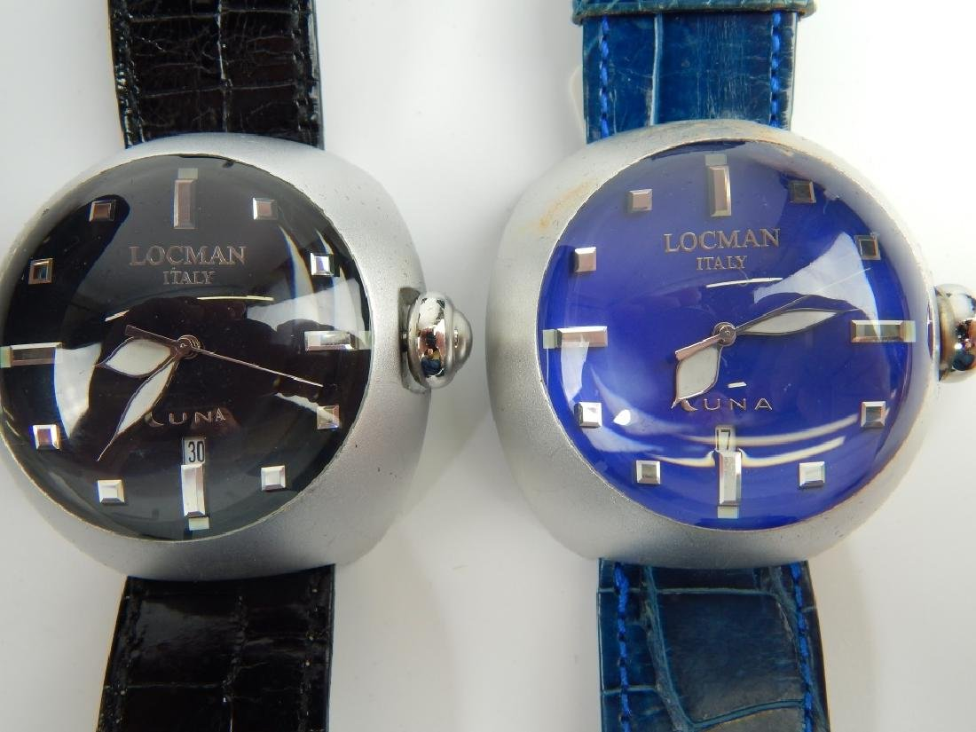2 LOCMAN ITALY LUNA DOME DIAL DATE WRISTWATCHES - 2