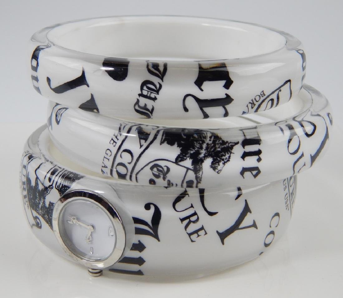 3pc JUICY COUTURE CLEAR ACRYLIC WATCH BANGLE SET