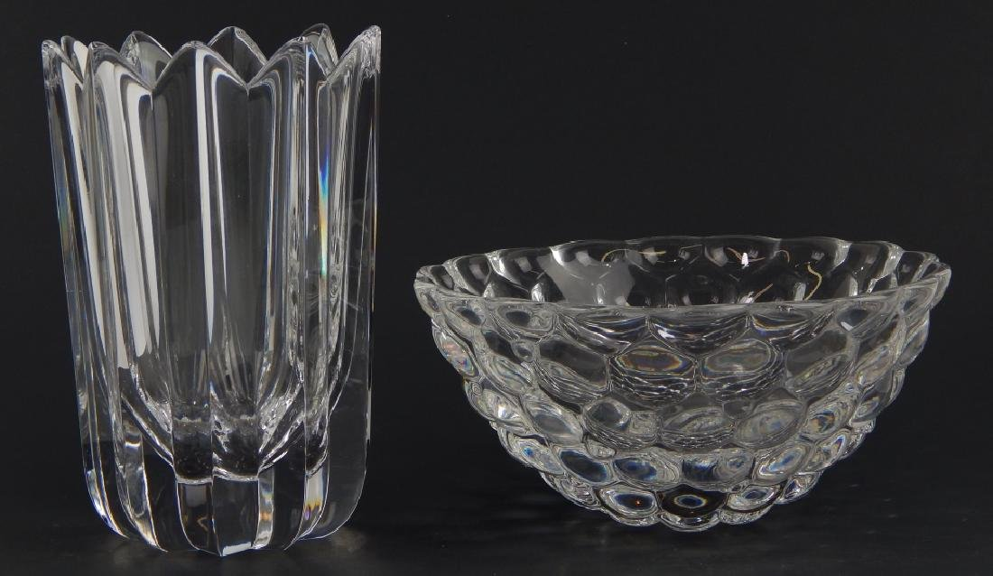2 ORREFORS CLEAR CRYSTAL VASE AND BOWL