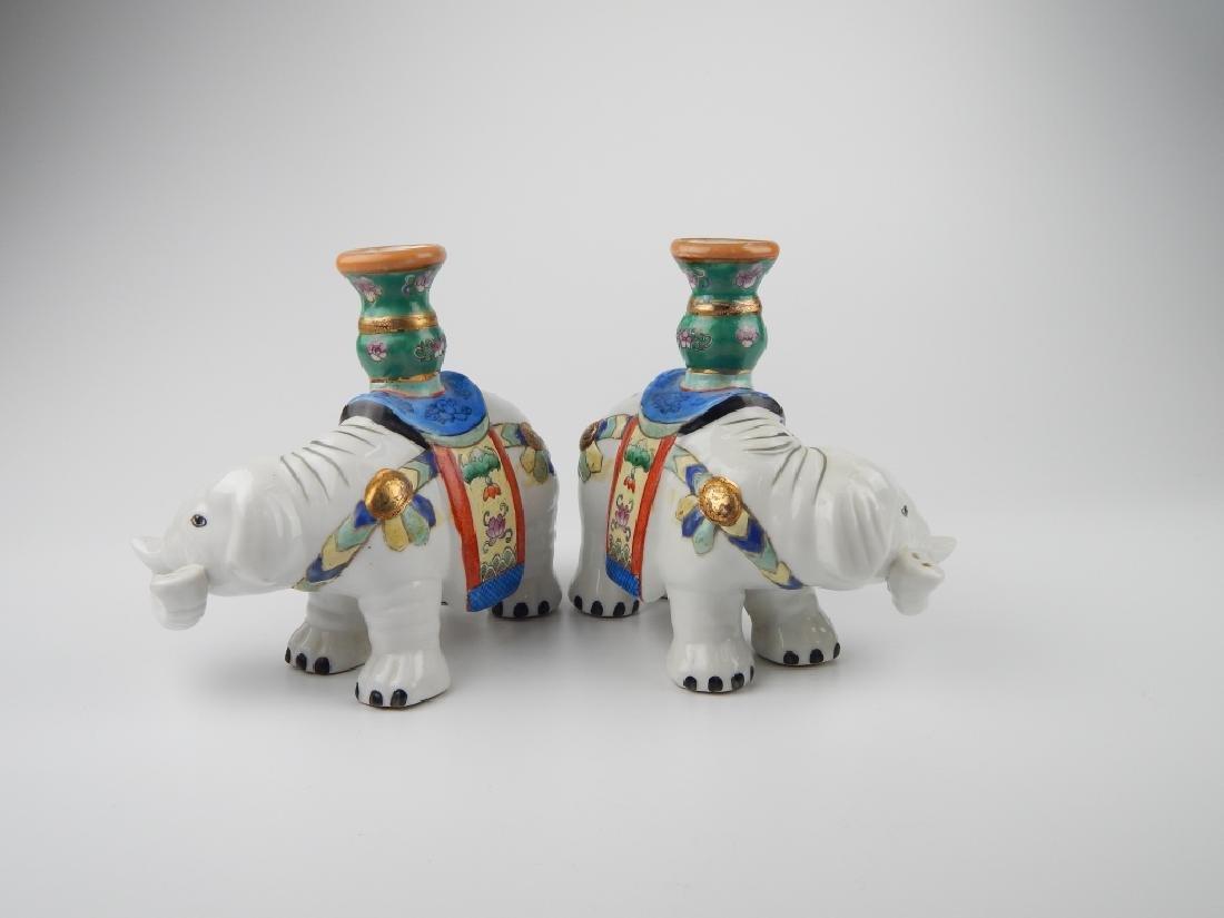CHINESE JIAQING PORCELAIN ELEPHANT CANDLEHOLDERS - 2