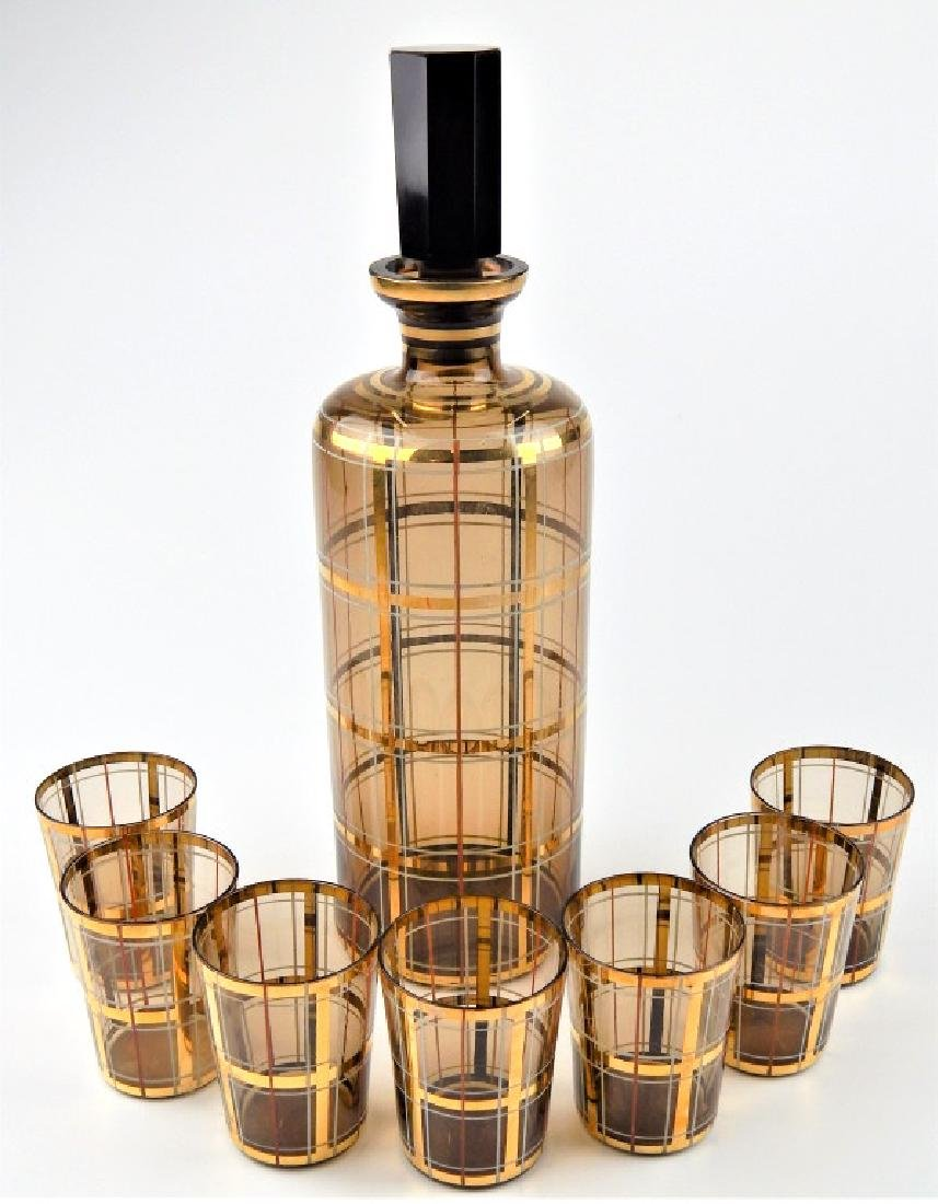 8pc MID CENTURY AMBER GLASS DECANTER CUP SET