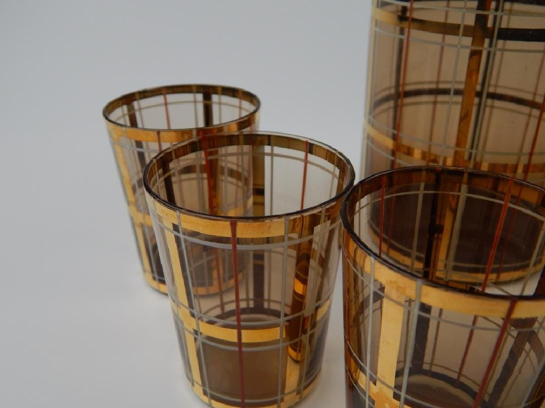 8pc MID CENTURY AMBER GLASS DECANTER CUP SET - 2