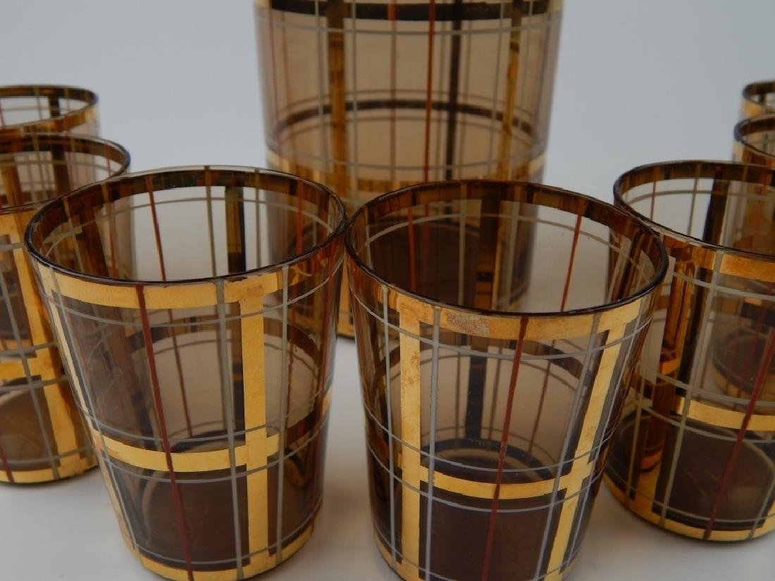 8pc MID CENTURY AMBER GLASS DECANTER CUP SET - 3