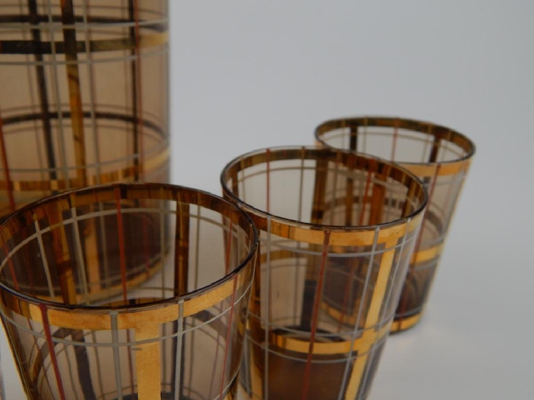 8pc MID CENTURY AMBER GLASS DECANTER CUP SET - 4