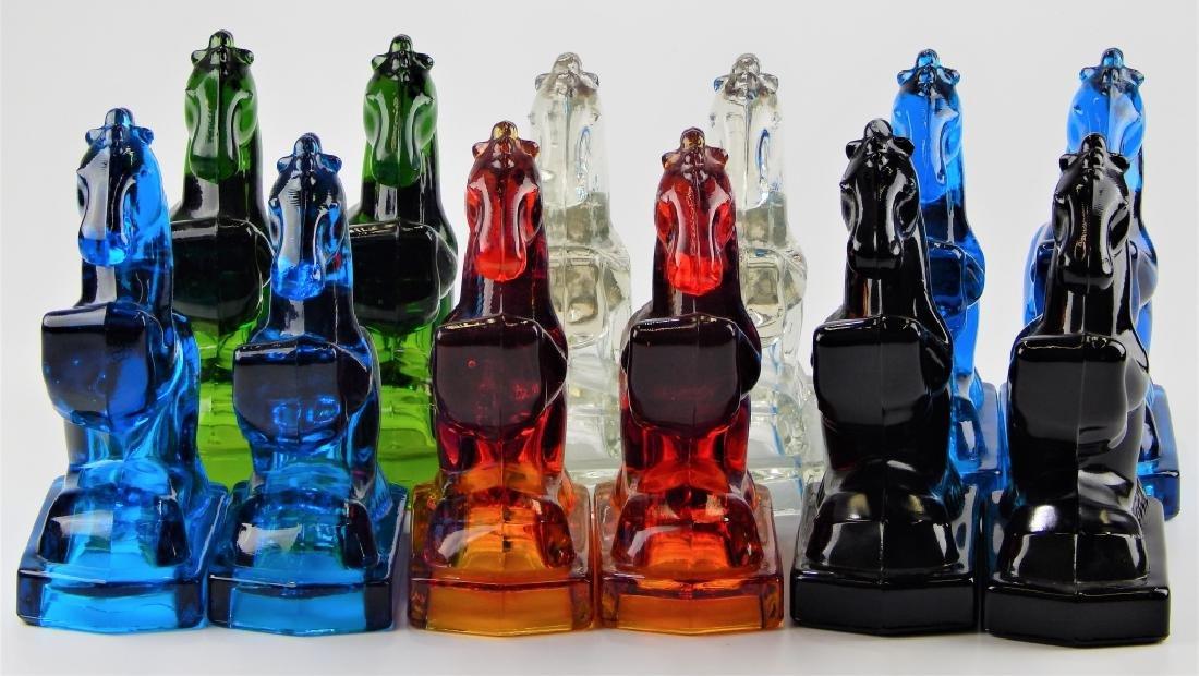 12 MULTI COLORED ART GLASS HORSE SCULPTURES