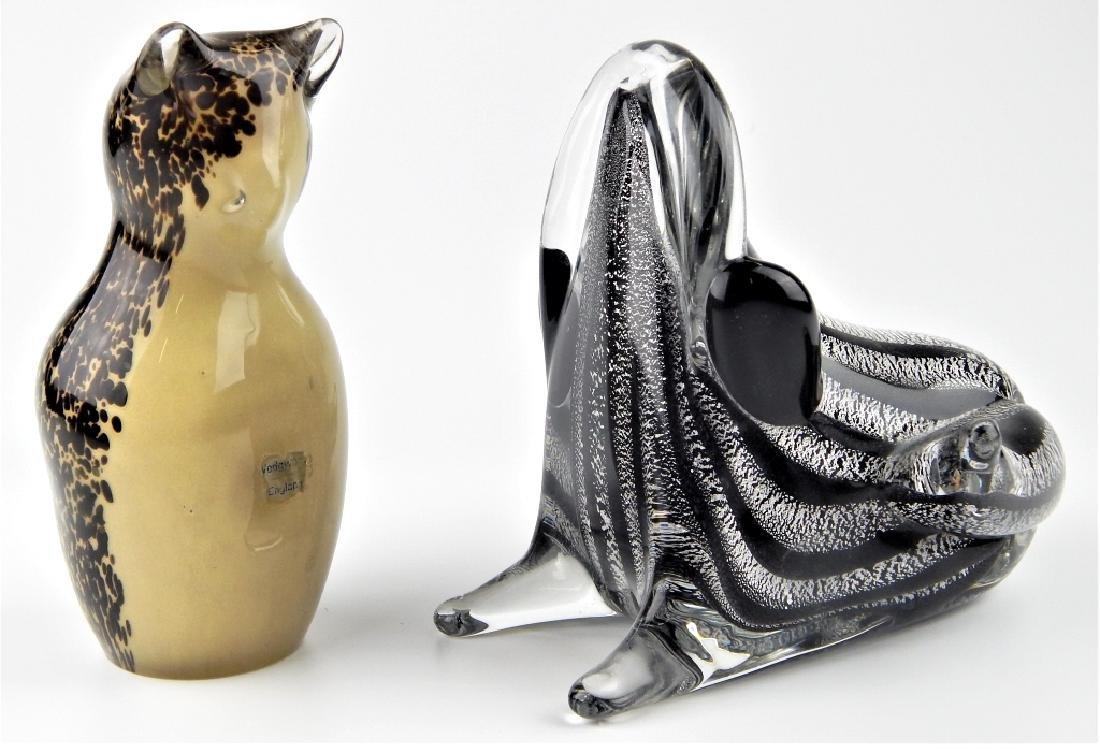 2 VINTAGE MURANO & WEDGWOOD ART GLASS SCULPTURES