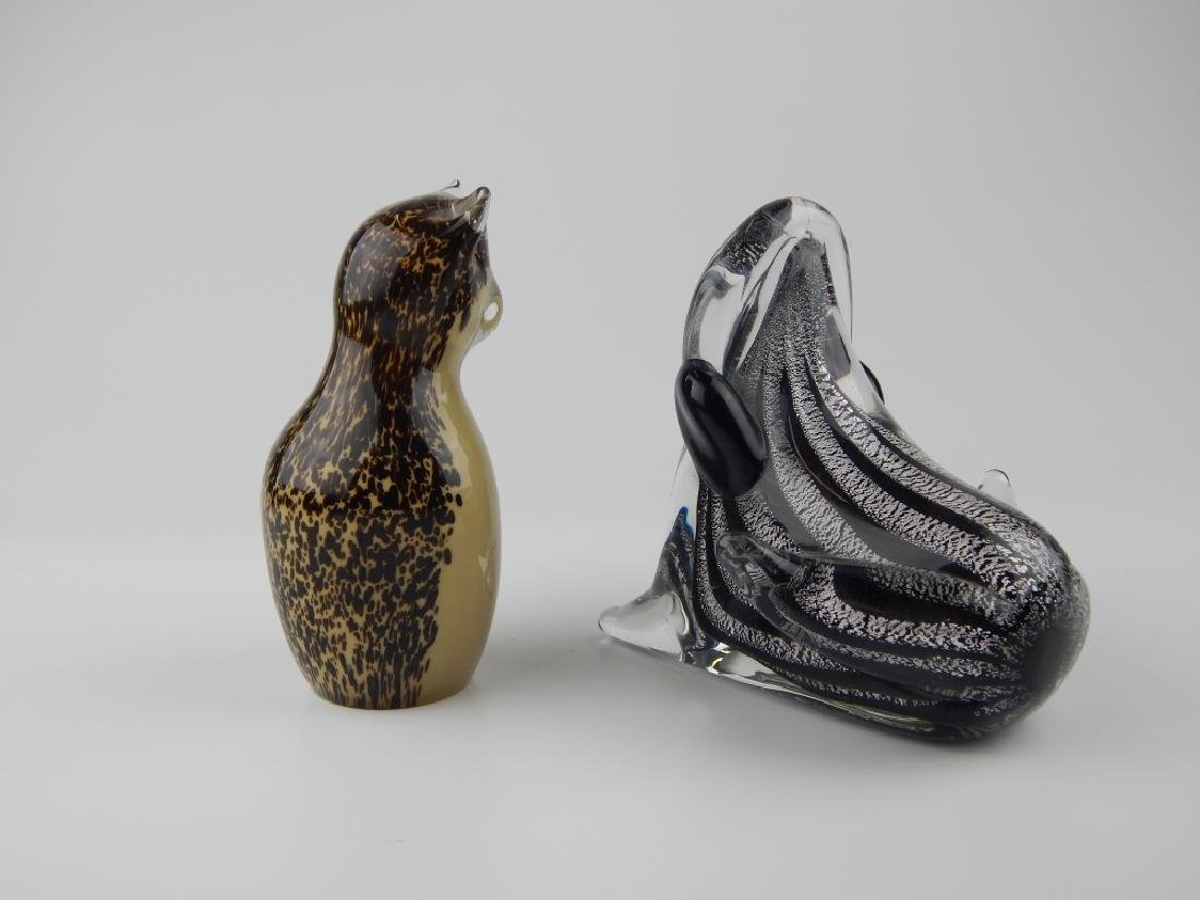 2 VINTAGE MURANO & WEDGWOOD ART GLASS SCULPTURES - 2