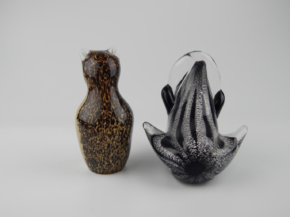 2 VINTAGE MURANO & WEDGWOOD ART GLASS SCULPTURES - 3