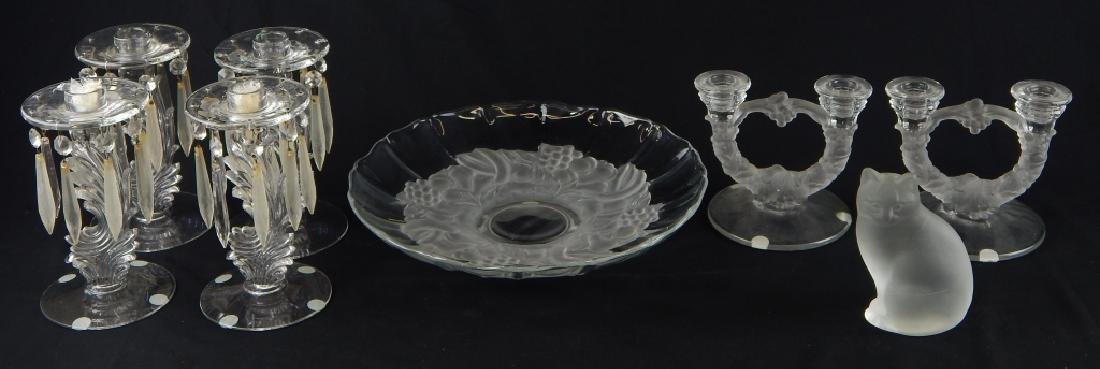 8pc VINTAGE GLASS ITEMS CANDLESTICK BOWL FIGURE