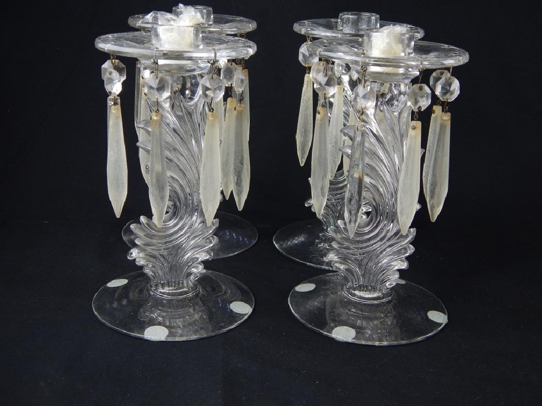 8pc VINTAGE GLASS ITEMS CANDLESTICK BOWL FIGURE - 6