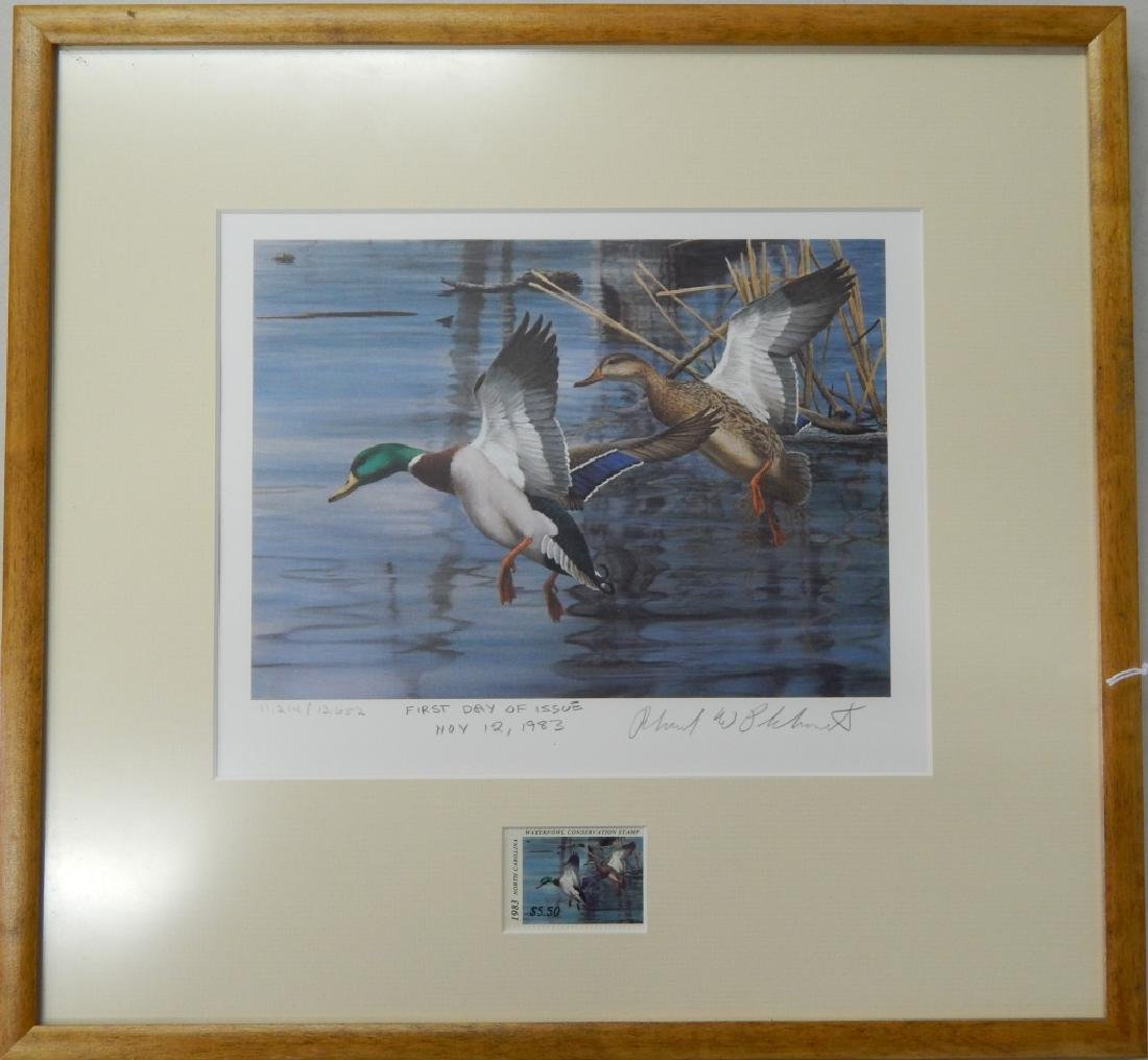 RICHARD PLASSCHAERT DUCKS PENCIL SIGNED LITHOGRAPH