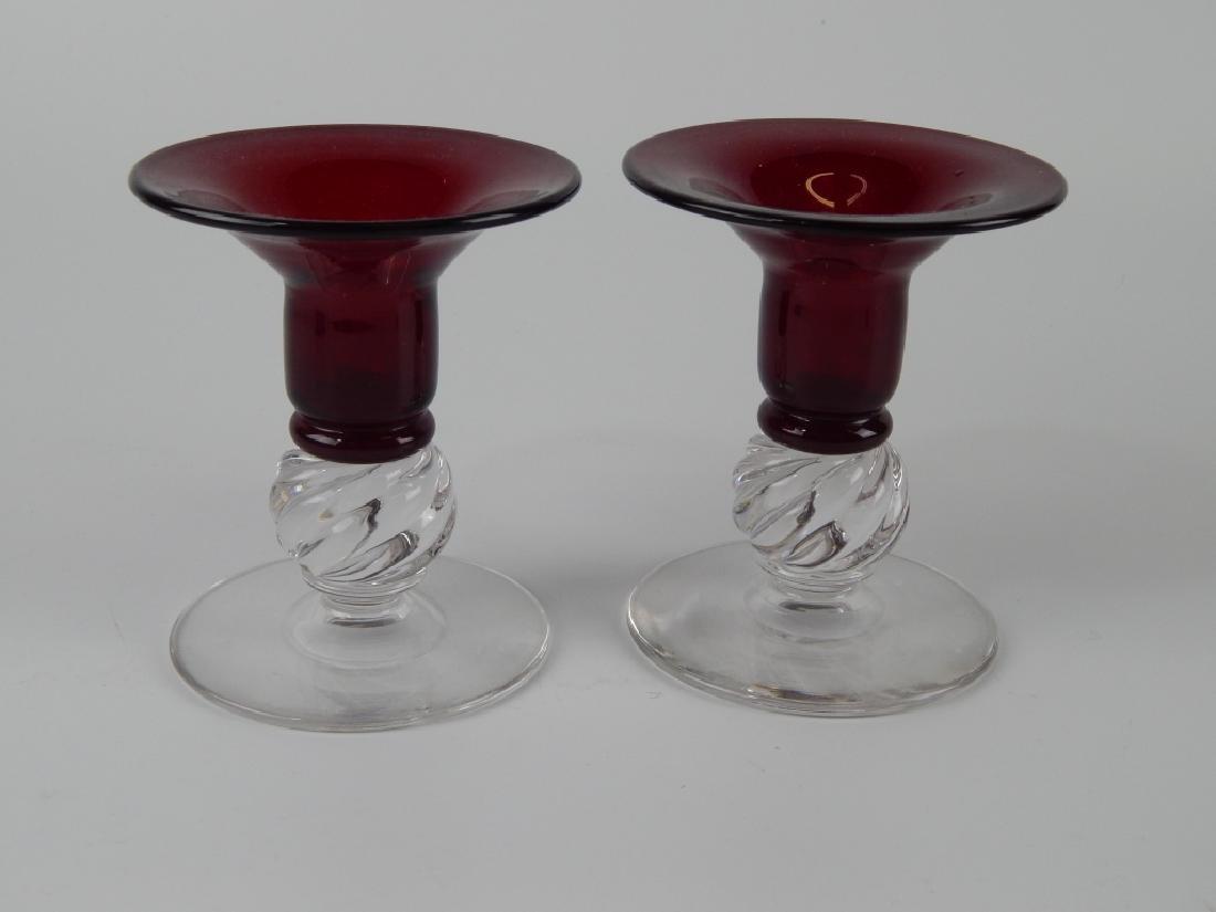 4 VINTAGE ART GLASS CANDLEHOLDER ITEMS - 4