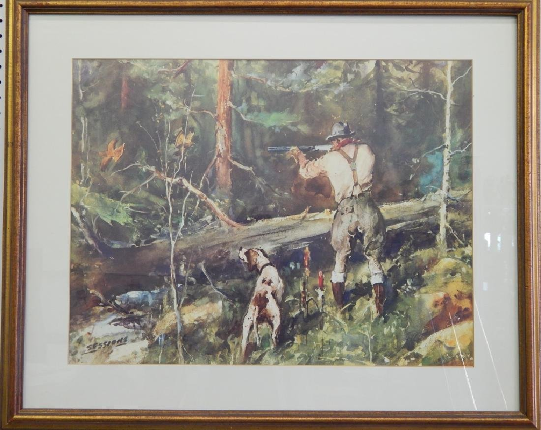 JAMES SESSIONS PRINT OF QUAIL HUNTER w DOG FRAMED