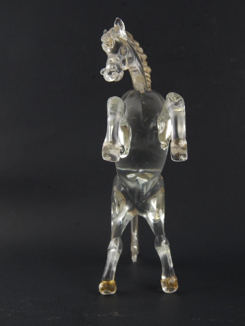 MURANO CAMPANELLA GLASS GOLD FLECK REARING HORSE - 2