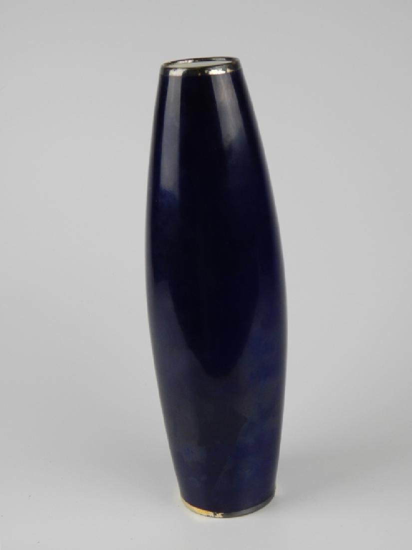 THOMAS GERMANY COBALT SILVER OVERYLAY FLORAL VASE - 2
