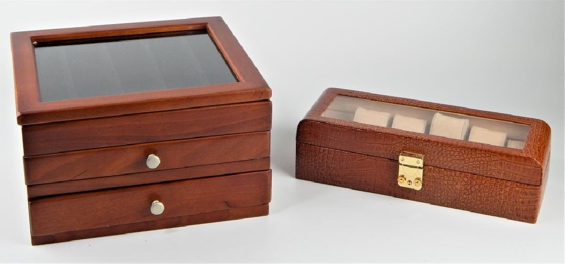 LOT OF 2 JEWELRY BOX ITEMS WOOD AND LEATHER