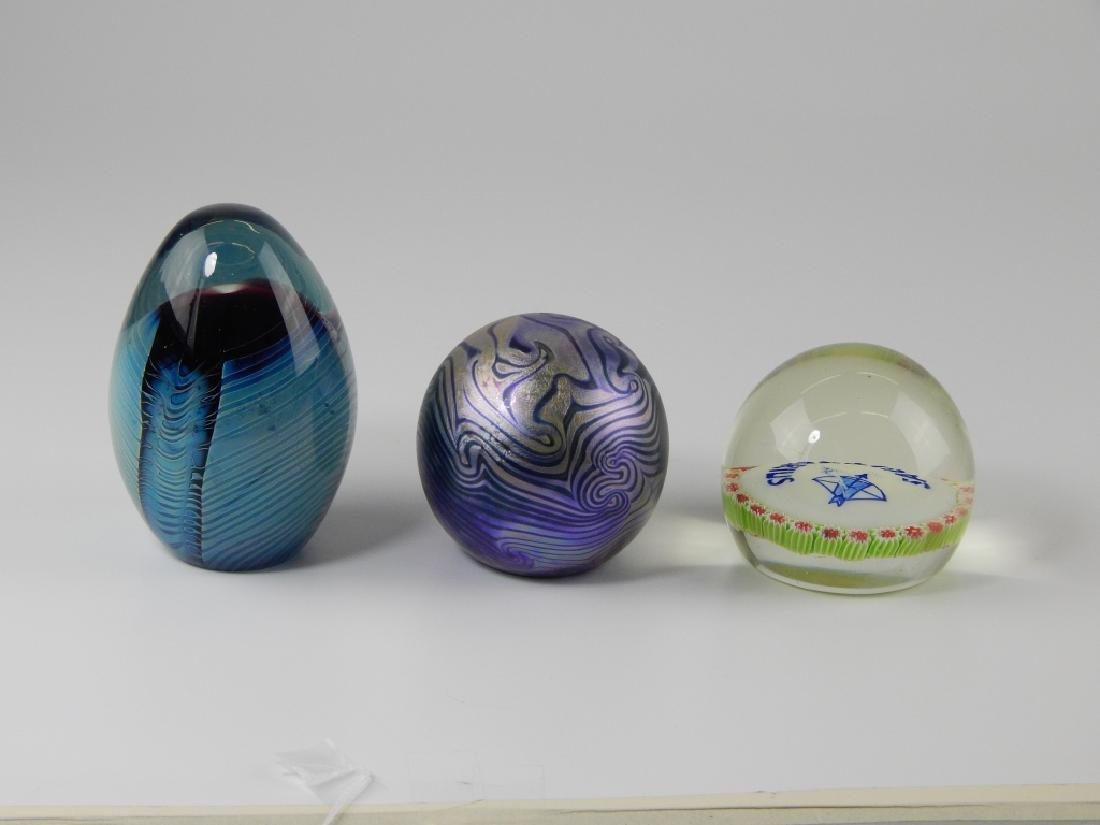 3 STUDIO ART GLASS PAPERWEIGHT SCULPTURES - 2