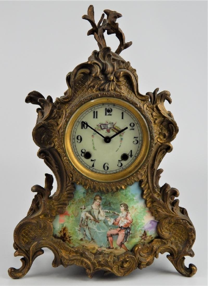 ANTIQUE NEW HAVEN PORCELAIN PLAQUE BRONZE CLOCK
