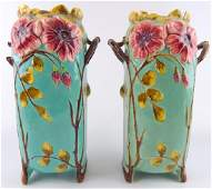 Pr ANTIQUE EUROPEAN MAJOLICA POTTERY HANDLED VASES