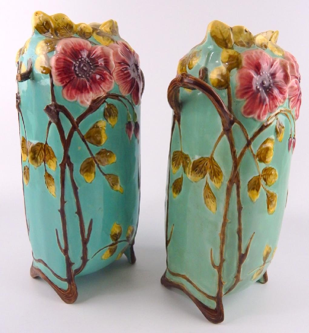 Pr ANTIQUE EUROPEAN MAJOLICA POTTERY HANDLED VASES - 2