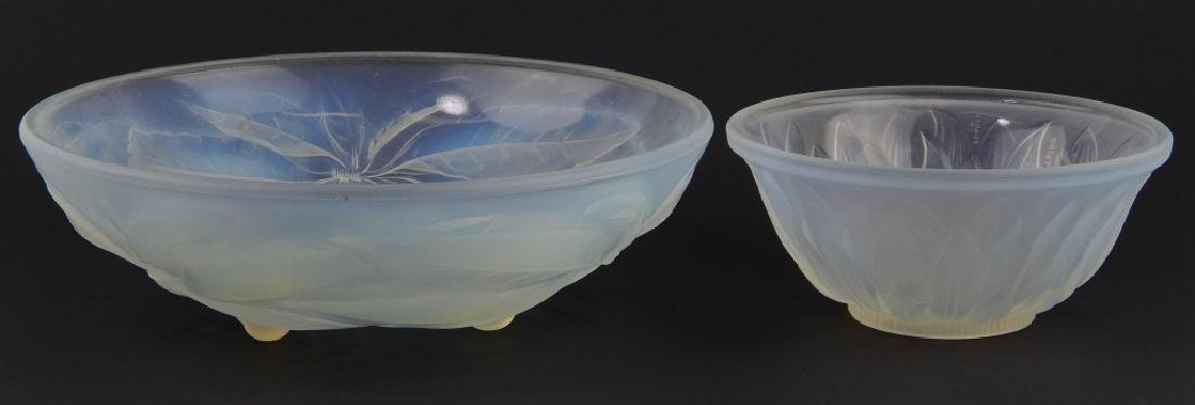 2 VINTAGE OPALESCENT GLASS BOWLS GALLON & ETLING