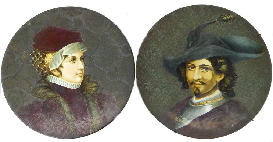 PAIR M KNIGHT (AMERICAN, 19th C) PORTRAIT CHARGERS